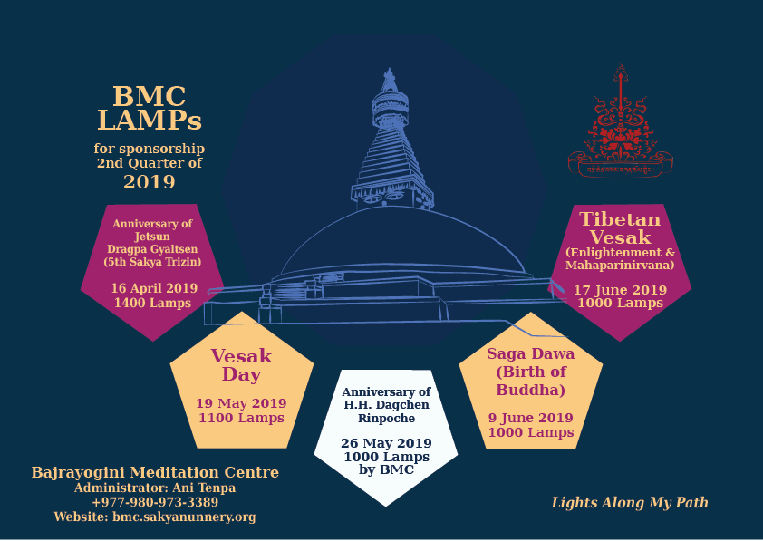 BMC Lamp Offerings for Sponsorship - 2nd Quarter of 2019. Selected dates for lamp-lighting.